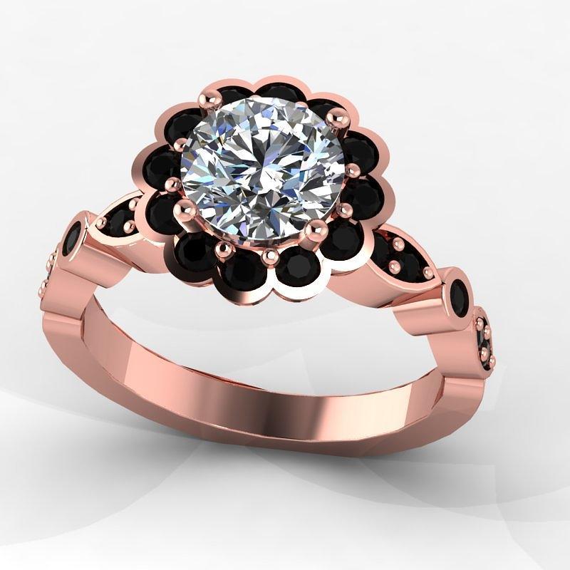 14k Rose Gold Black Diamond Ring With Moissanite Center Stone