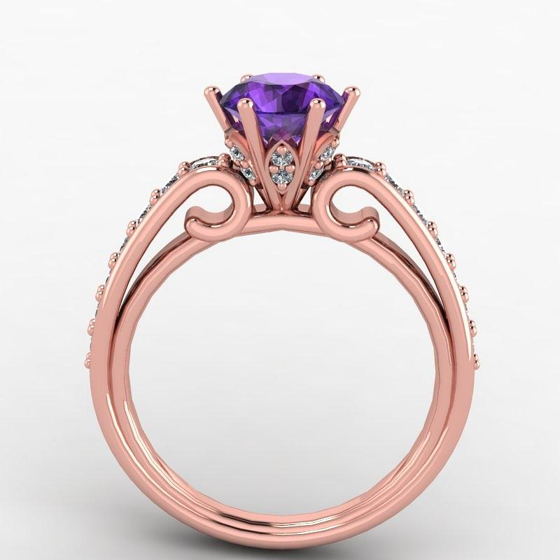 Perfect 14k Rose Gold Diamond Ring With Amethyst Center Stone Jewelry by  IA05