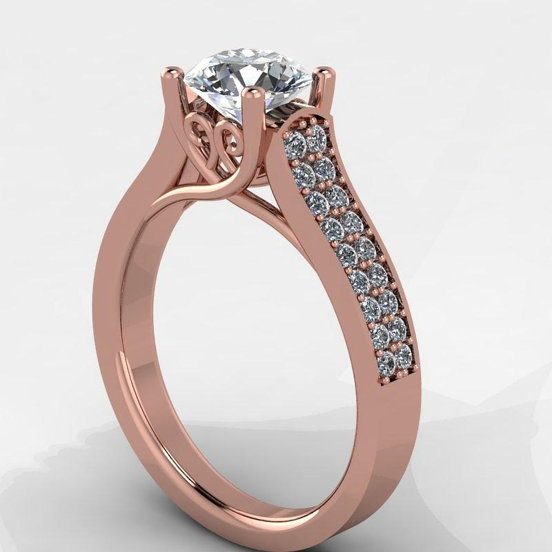Yellow Gold Jewelry - 14k Rose Gold Diamond Ring With Moissanite Center Stone by Eternity Collection