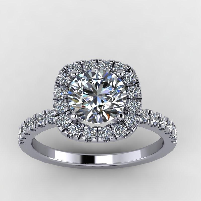 Yellow Gold  Jewelry - 14k White Diamond Ring With Moissanite Center Stone by Eternity Collection
