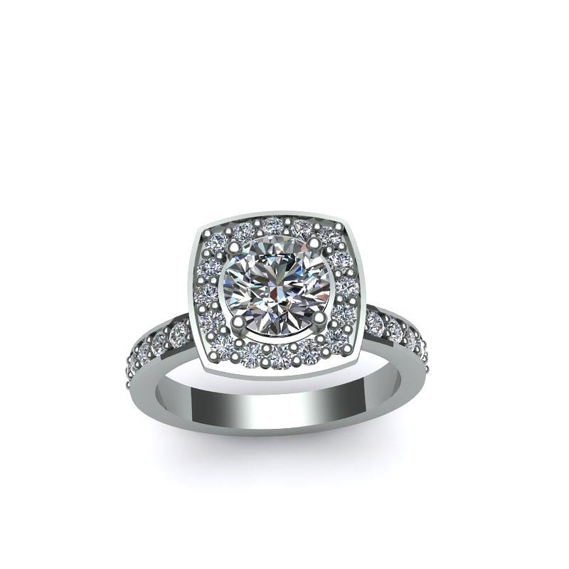 Yellow Gold Jewelry - 14k White Go0ld Ring With Moissanite Center Stone by Eternity Collection