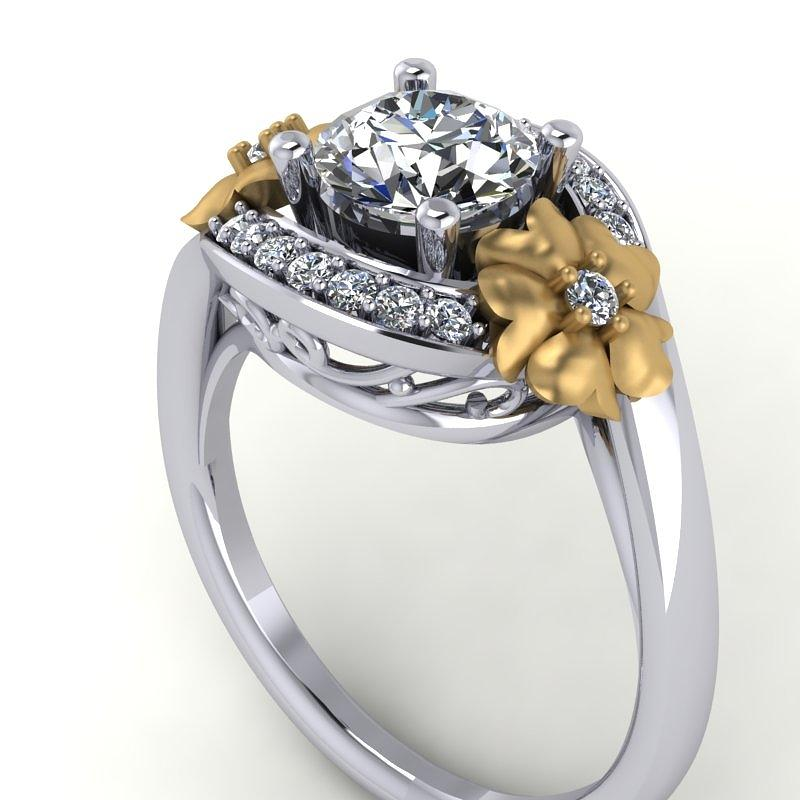 Yellow Gold Jewelry - 14k White Gold And Yellow Gold Diamond Ring With Moissanite Center by Eternity Collection