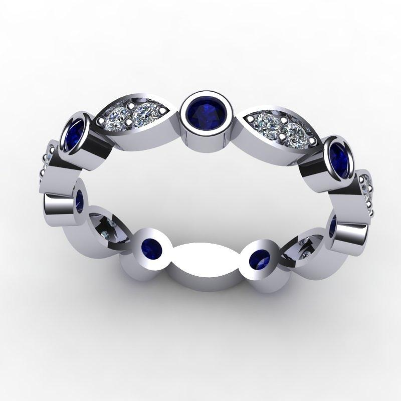 Yellow Gold Jewelry - 14k White Gold Sapphire And Diamond Band by Eternity Collection