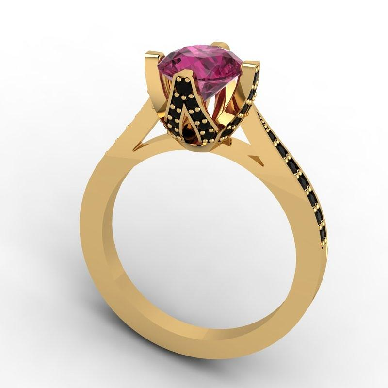 14k Yellow Gold Black Diamond Ring With Pink Sapphire Center Stone