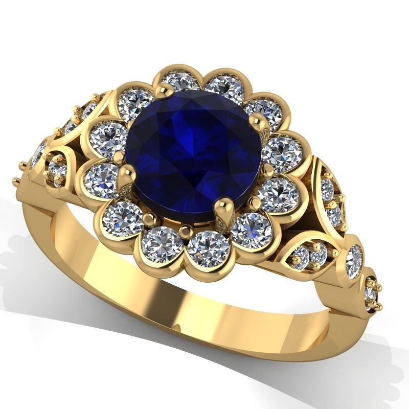 14k Yellow Gold Diamond Ring With Blue Sapphire Center Stone