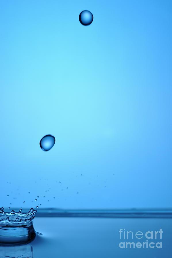 Motion Photograph - Splashing Water Droplet by Sami Sarkis