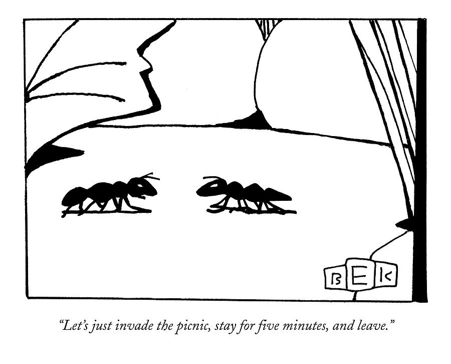 Lets Just Invade The Picnic Drawing by Bruce Eric Kaplan