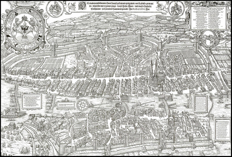 Zurich Digital Art - 1576 Zurich Switzerland Map by Daniel Hagerman
