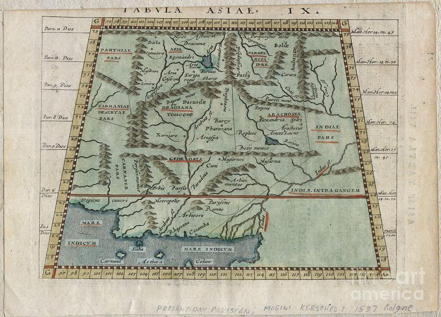 Petrus Keschedt Photograph - 1597 Ptolemy  Magini  Keschedt Map Of Pakistan Iran And Afghanistan by Paul Fearn