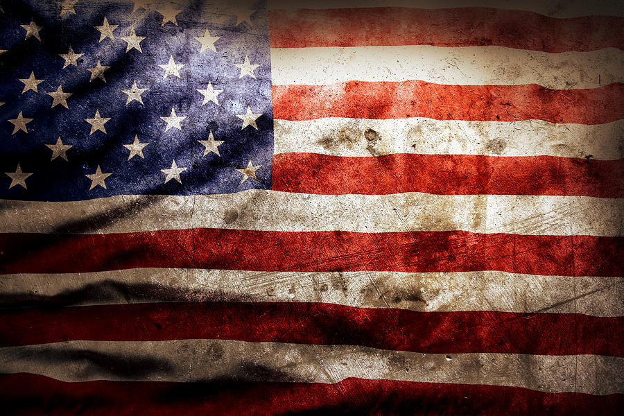 Old Photograph - American Flag by Les Cunliffe