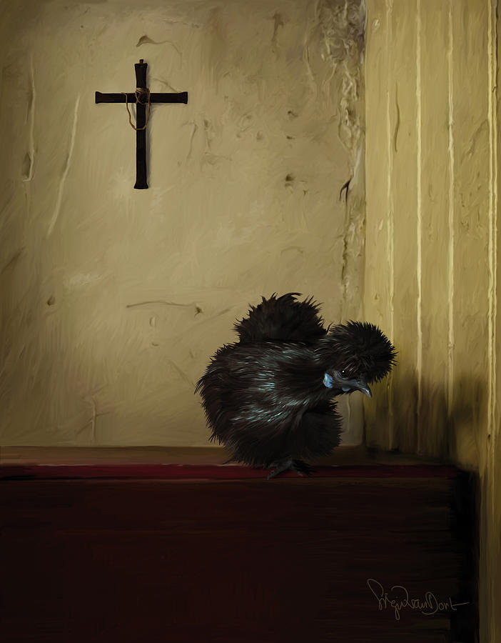 Chicken Digital Art - 16. Black Silkie by Sigrid Van Dort