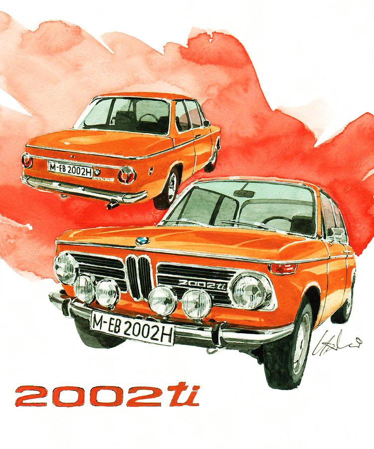 Bmw 2002 Ti Painting - BMW 2002 ti by Yoshiharu Miyakawa