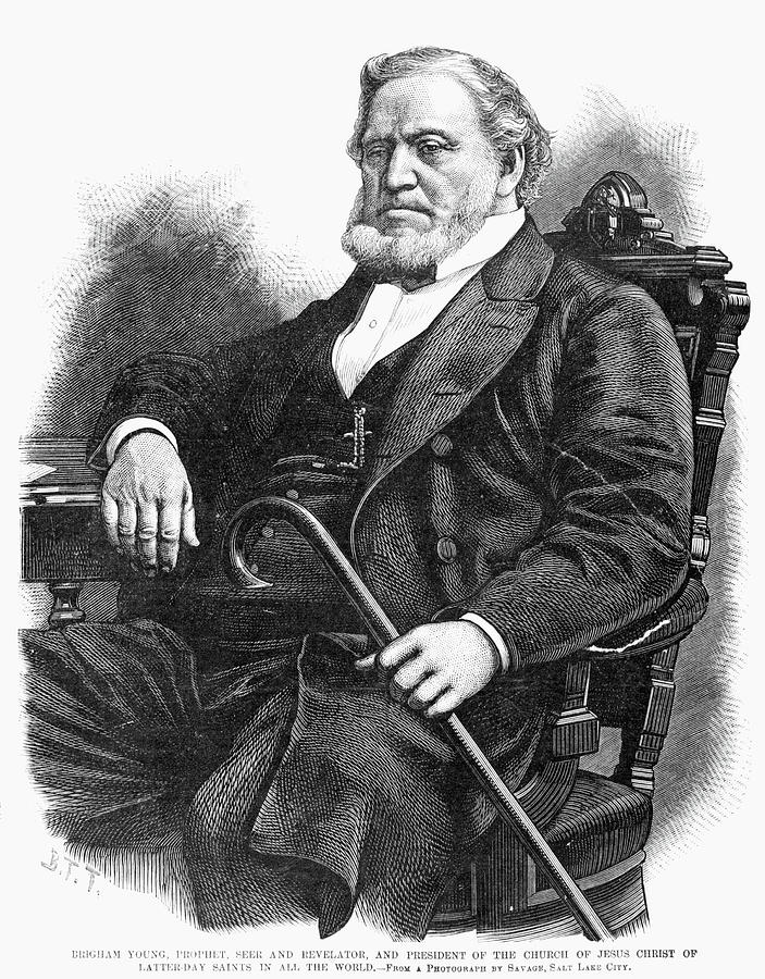 1877 Painting - Brigham Young (1801-1877) by Granger