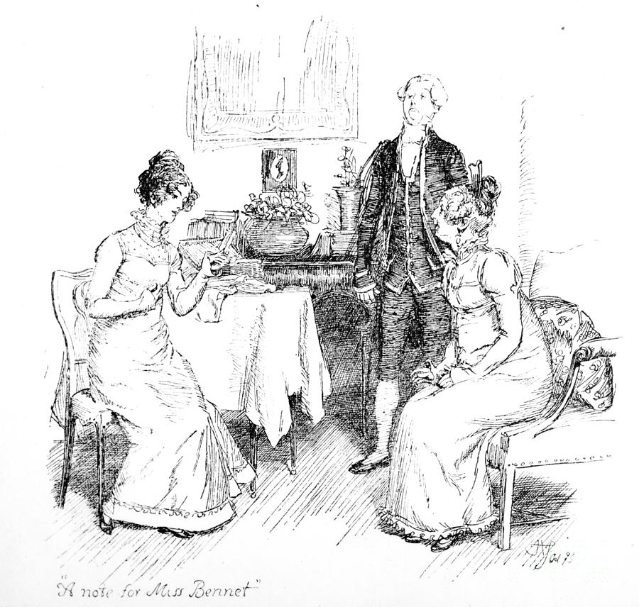 Note For Miss Bennet; Illustration; Pride And Prejudice; Jane Austen; Receiving; Receives; Note; Invitation; Dine; Netherfield Park; Caroline Bingley; Illustrated; Edition; Mrs; Bennet; Bennett; Footman; Georgian ;parlour; Interior; Costume; Mother; Daughter; Letter; Invited; Character; Dinner Drawing - Scene From Pride And Prejudice By Jane Austen by Hugh Thomson