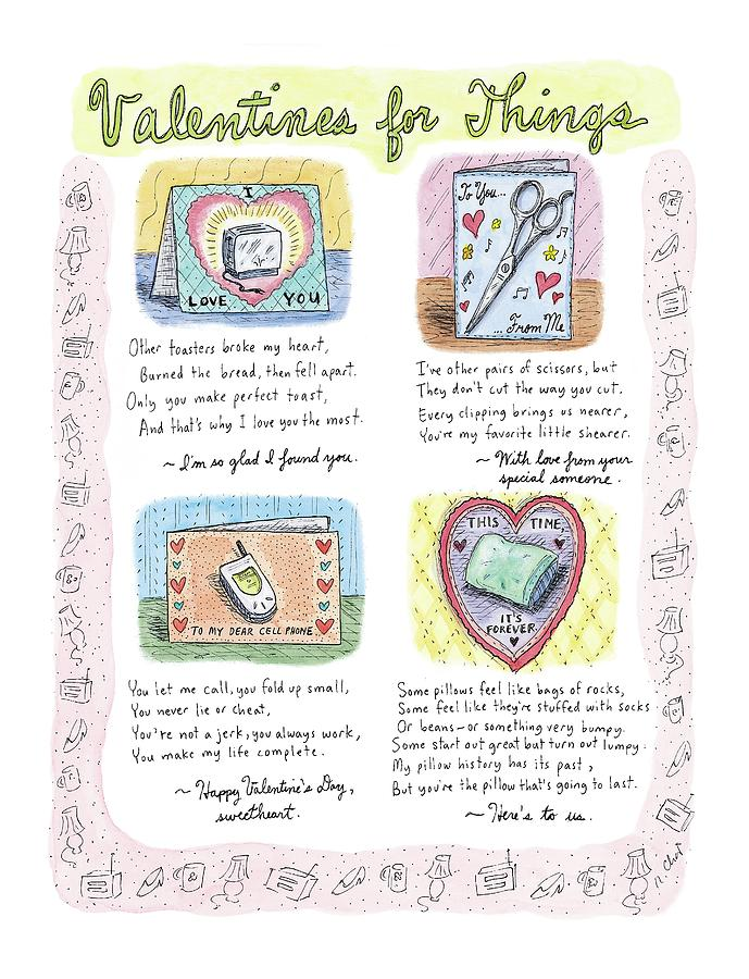 Valentines For Things Drawing by Roz Chast