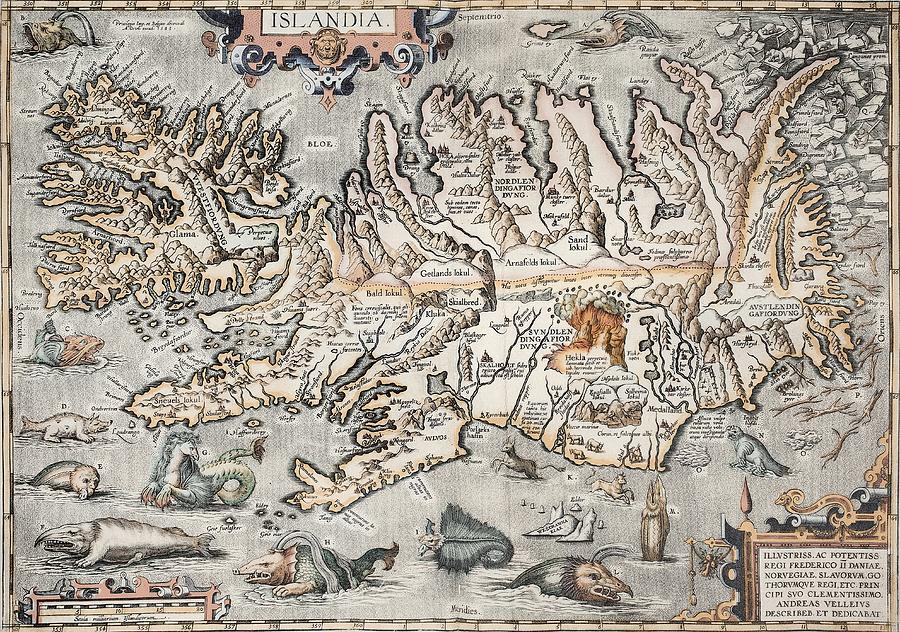 16th Century Photograph - 1603 Ortelius Iceland Monster Map by Paul D Stewart