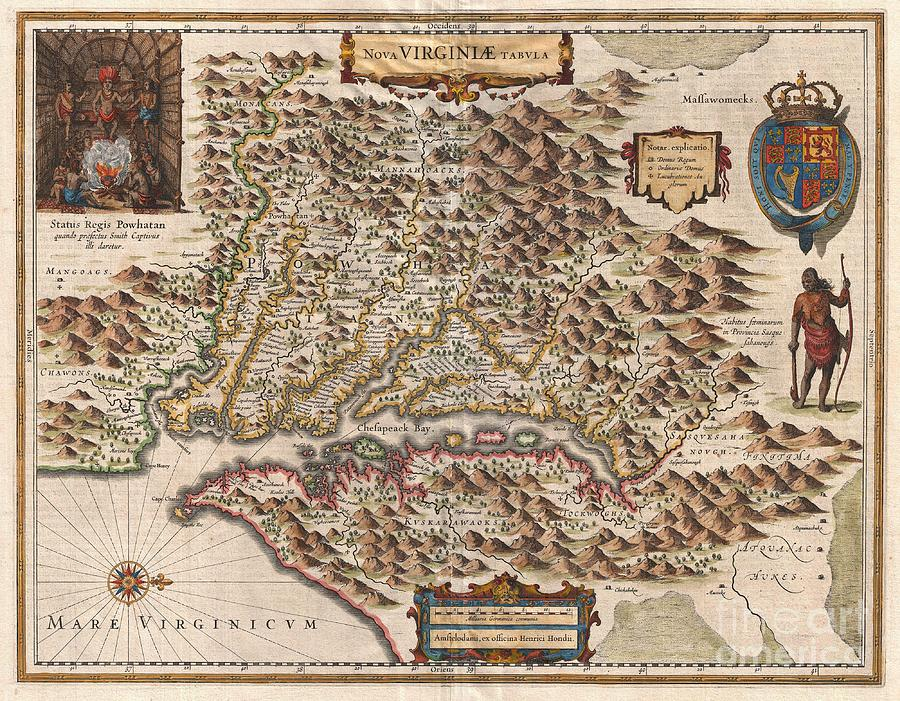 And Fanciful Wishful Thinking Photograph - 1630 Hondius Map Of Virginia And The Chesapeake by Paul Fearn