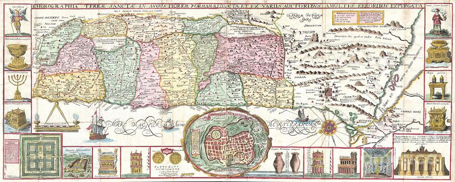 Camps Photograph - 1632 Tirinus Map Of The Holy Land by Paul Fearn