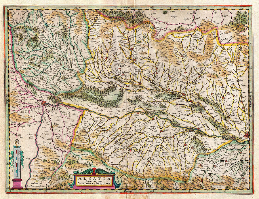 Poster Painting - 1644 Jansson Map Of Alsace Basel And Strasbourg Geographicus Alsatiasuperior Jansson 1644 by MotionAge Designs