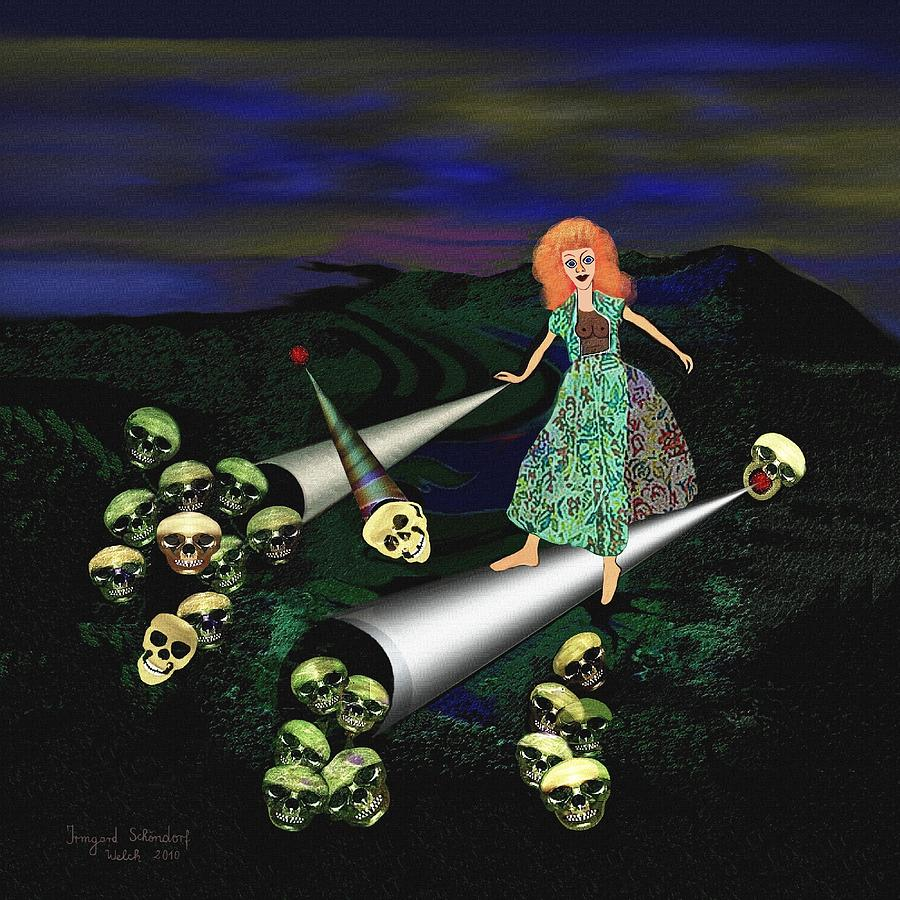Creepy Digital Art - 165 -   Lindas Nightwalk by Irmgard Schoendorf Welch