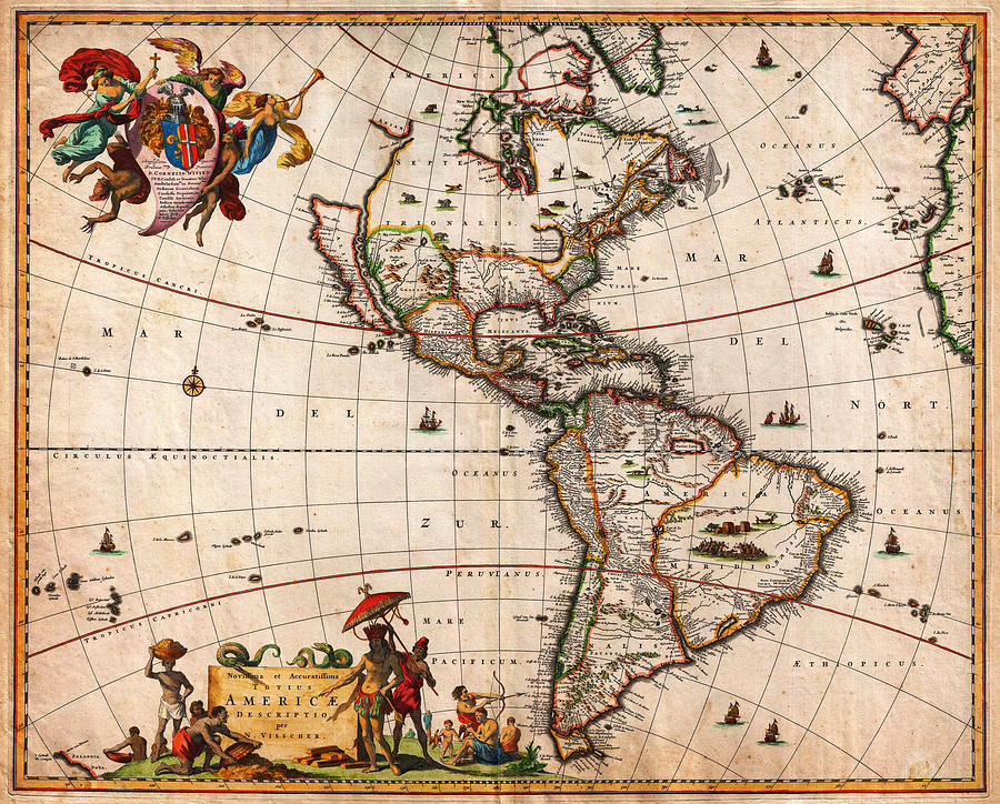 Poster Painting - 1658 Visscher Map Of North America And South America Geographicus America Visscher 1658 by MotionAge Designs