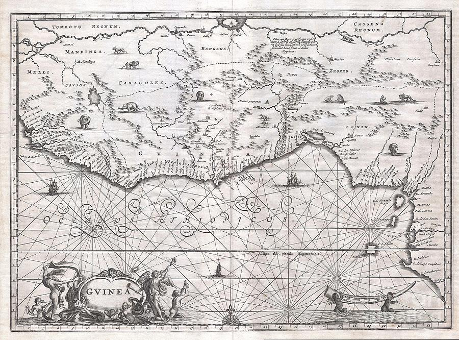 This Is An Extraordinary 1670 Map Of West Africa By English Cartographer John Ogilby. Depicts The African Gold Coast Photograph - 1670 Ogilby Map Of West Africa  Gold Coast Slave Coast Ivory Coast by Paul Fearn