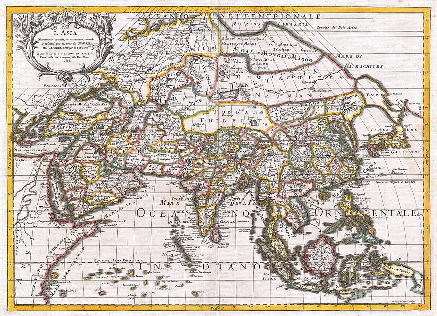 Africa Photograph - 1687 Sanson  Rossi Map Of Asia 1687 by Paul Fearn