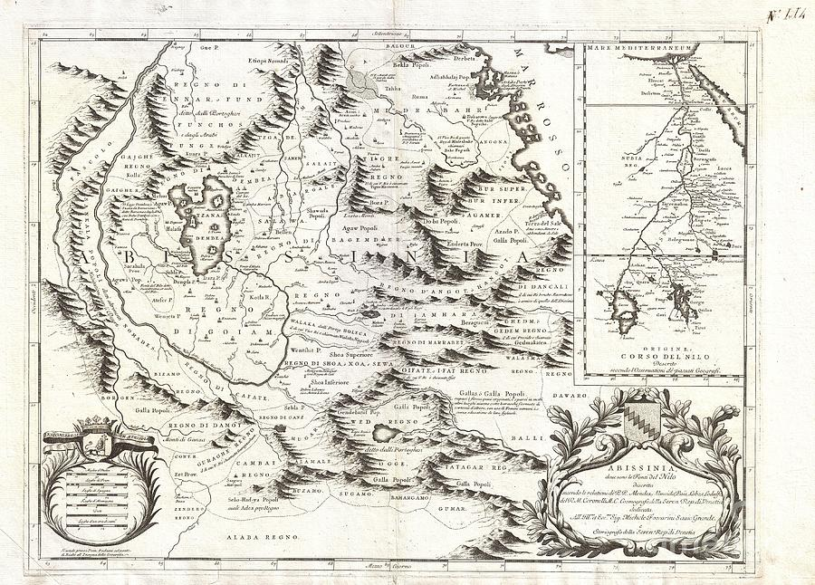 Cities Photograph - 1690 Coronelli Map Of Ethiopia Abyssinia And The Source Of The Blue Nile by Paul Fearn