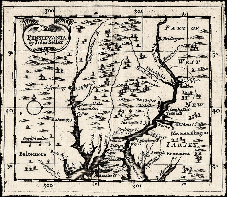 1690 Pennsylvania Map Drawing - 1690 Pennsylvania Map by Bill Cannon