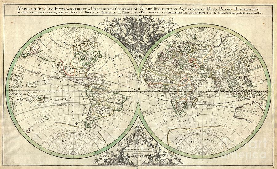 In Japan Photograph - 1691 Sanson Map Of The World On Hemisphere Projection by Paul Fearn