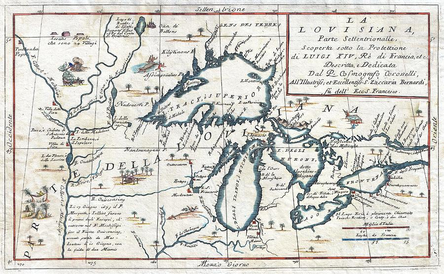 This Exceedingly Rare 1694 Map By Vincenzo Coronelli Is The Most Important Depiction Of The Great Lakes And The Headwaters Of The Mississippi River To Appear In The Late 17th Century. Covers All Five Great Lakes And Extends Westward As Far As The Mississippi River Valley. This Map Is A Careful Study Of The Great Lakes Region And Reveals Coronelli's Fascination With This Area. Coronelli Derived His Cartographic Information From The Reports Of Jesuit Missionaries Who Were Actively Proselytizing In This Region Throughout The Mid To Late 18th Century. These Included The Explorations Of La Salle Photograph - 1696 Coronelli Map Of The Great Lakes by Paul Fearn
