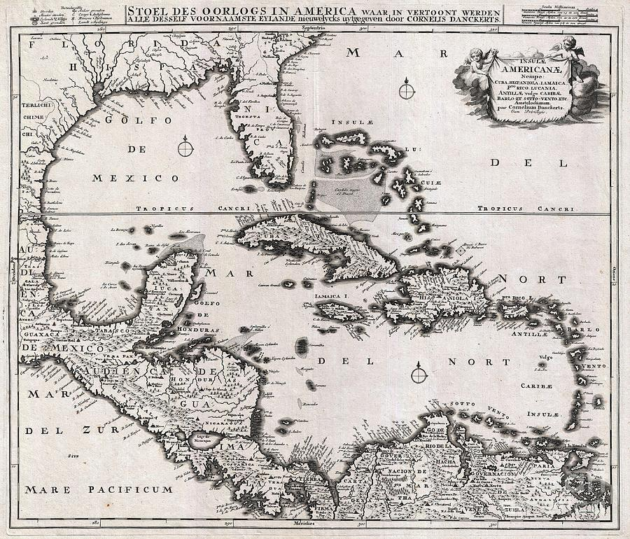 The West Indies Photograph - 1696 Danckerts Map Of Florida The West Indies And The Caribbean by Paul Fearn