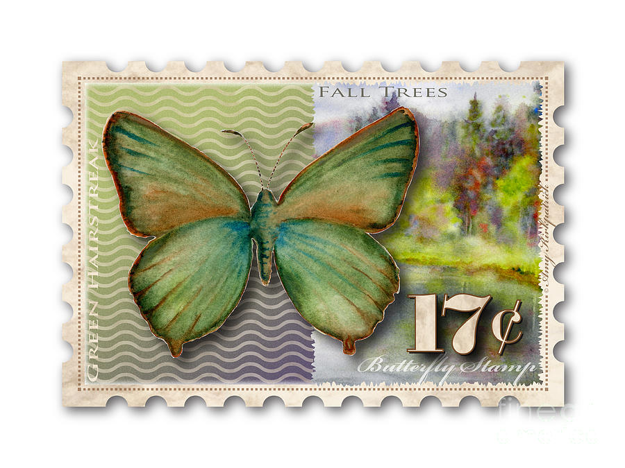 17 Cent Butterfly Stamp Painting
