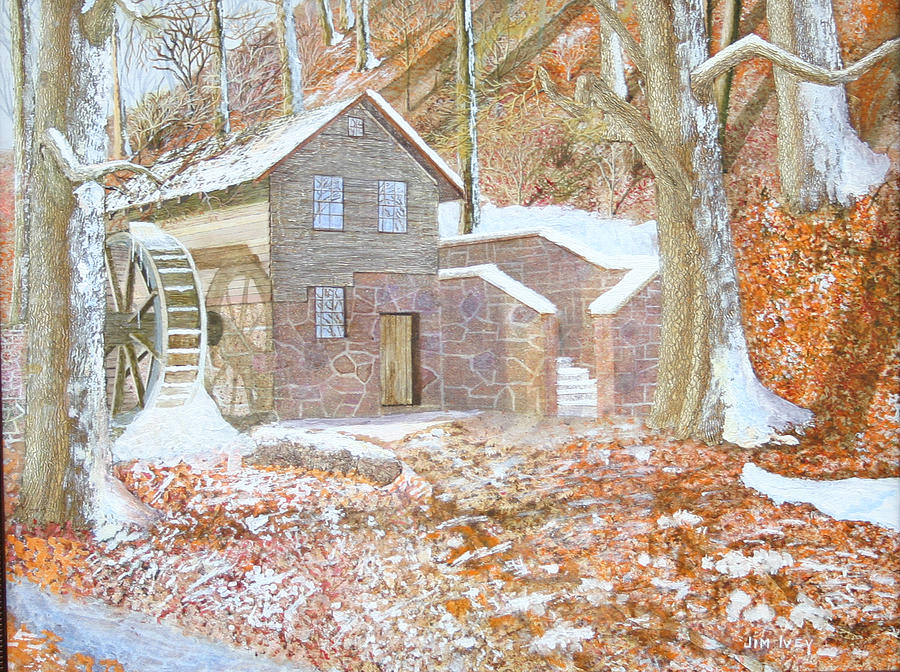 Grist Mill Paintings Painting - 17 Centry Ghrist Mill by Jim Ivey