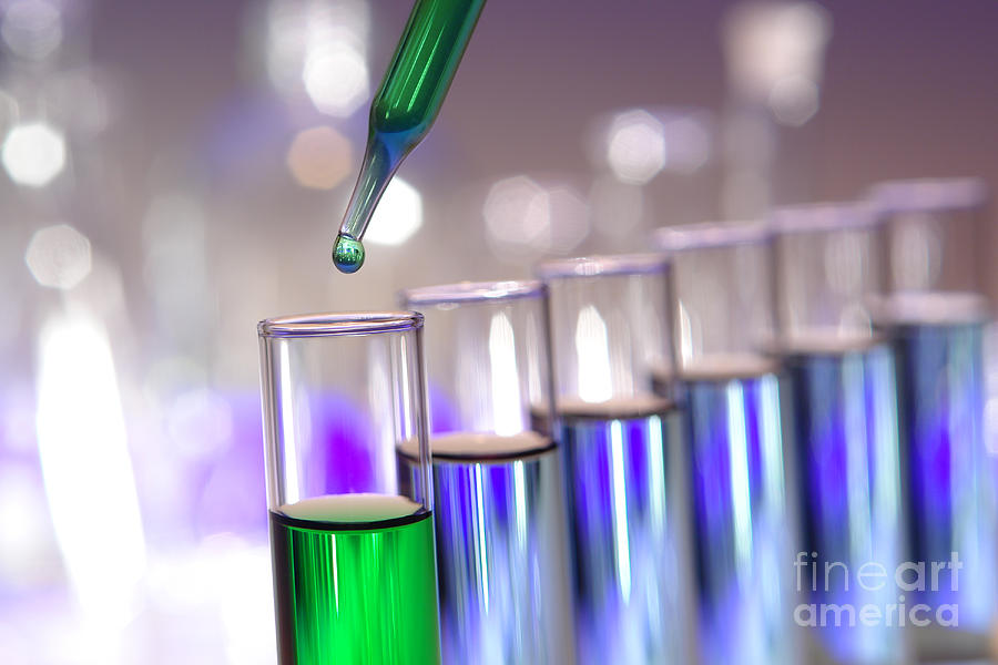 Laboratory Test Tubes in Science Research Lab by Science Research Lab By Olivier Le Queinec