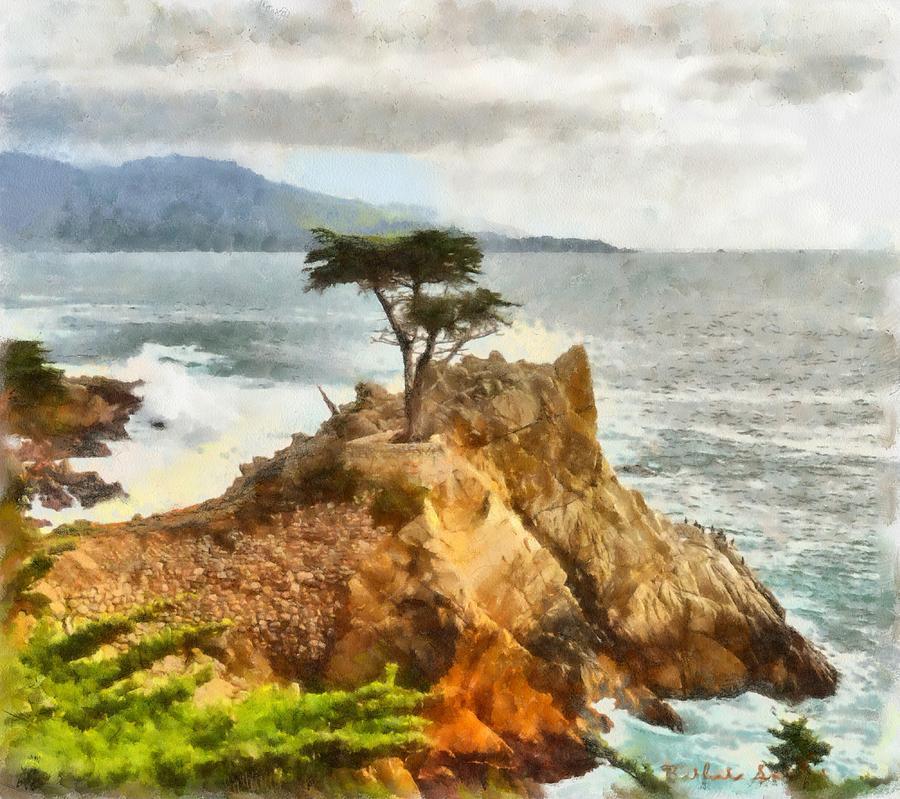 Barbara Snyder Digital Art - 17 Mile Drive Lone Cypress Watercolor 17 by Barbara Snyder