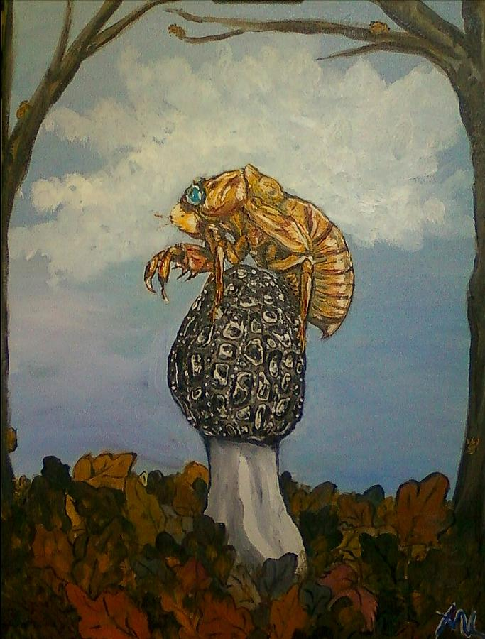 Morel Painting - 17 Year Cicada With Morel by Alexandria Weaselwise Busen