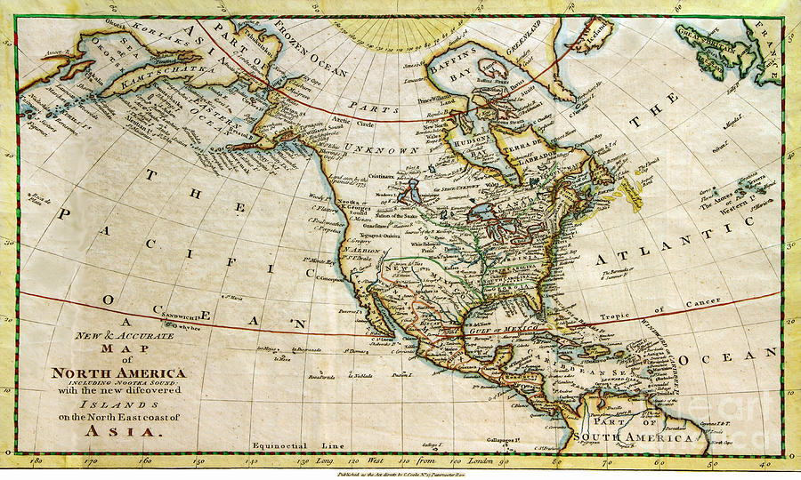North America Pograph 1700s Map Of North America By Maria Hunt