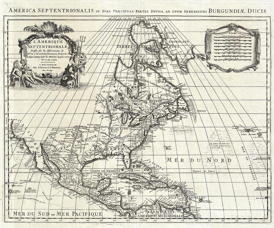 Indigenous Peoples Photograph - 1708 De Lisle Map Of North America by Paul Fearn
