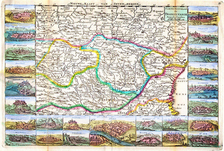 1710 De La Feuille Map Of Transylvania And Moldova Painting by Celestial Images