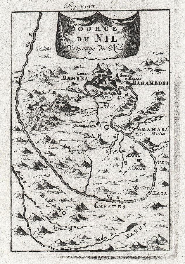 1719 Mallet Map Of The Source Of The Nile Ethiopia Photograph by Paul Fearn