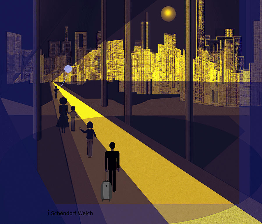 Night Painting - 172 -  Nightwalking To The Golden City  by Irmgard Schoendorf Welch