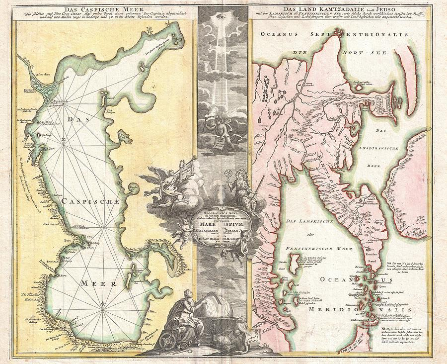 Angels Photograph - 1725 Homann Map Of The Caspian Sea And Kamchatka by Paul Fearn