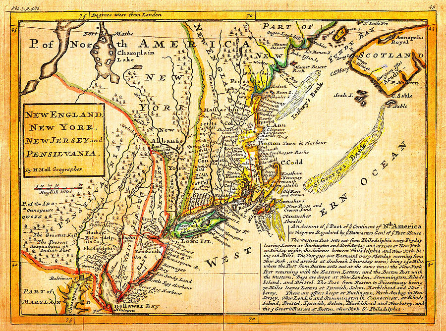 Poster Painting - 1729 Moll Map Of New York New England And Pennsylvania First Postal Map Of New England Geographicus  by MotionAge Designs