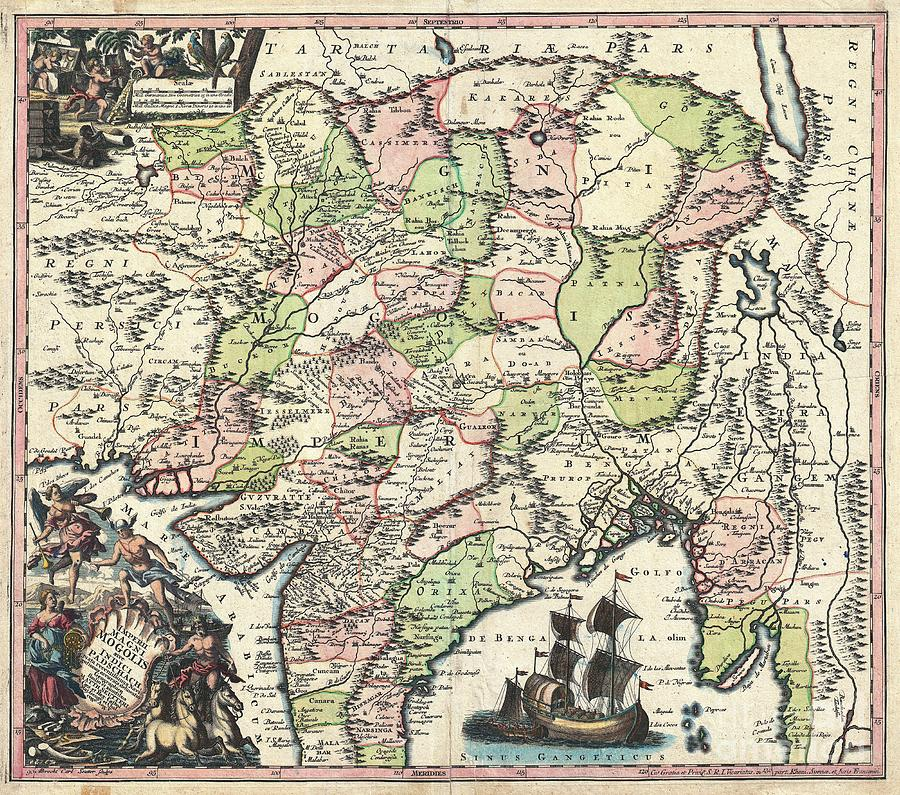 Gross Errors Photograph - 1740 Seutter Map Of India Pakistan Tibet And Afghanistan by Paul Fearn