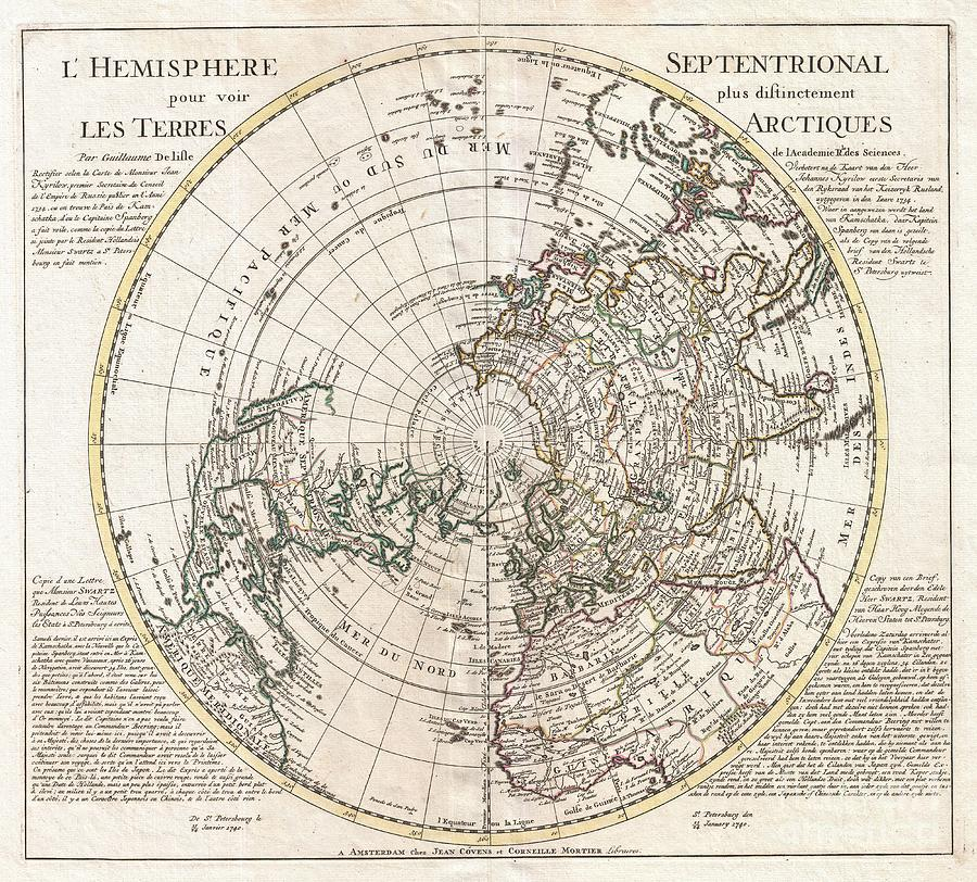 Central America Photograph - 1741 Covens And Mortier Map Of The Northern Hemisphere  North Pole Arctic by Paul Fearn
