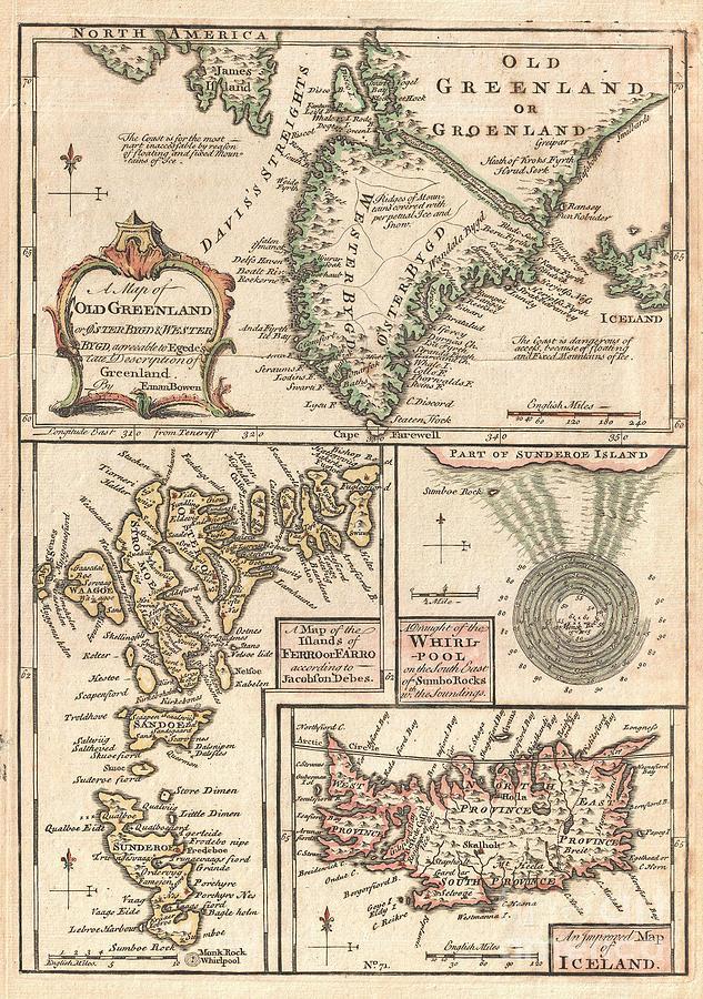 1747 Bowen Map Of The North Atlantic Islands Greenland Iceland Faroe Islands Photograph by Paul Fearn