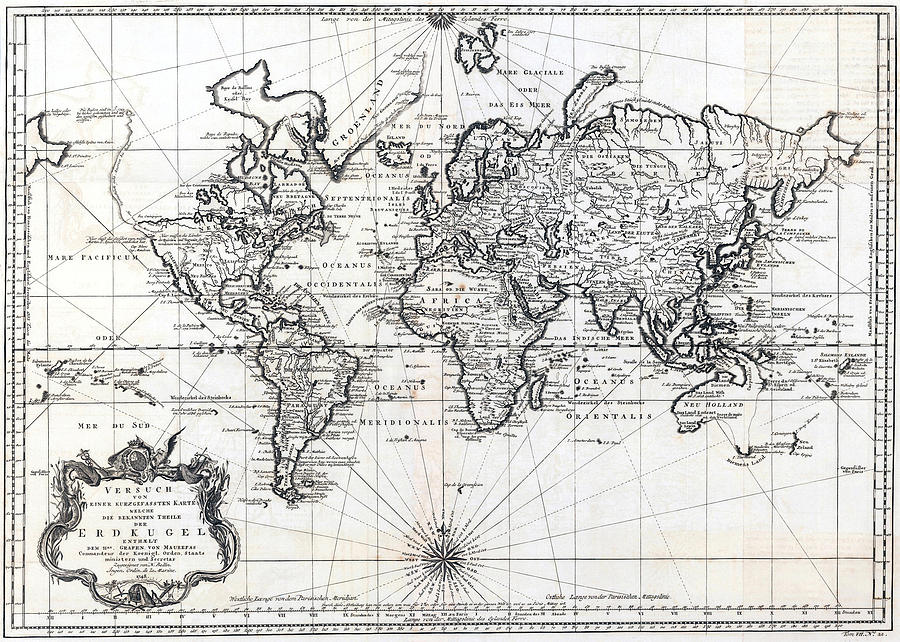 Antique World Map Versuch Von Einer Kurzgefassten Karte - Antique world map picture