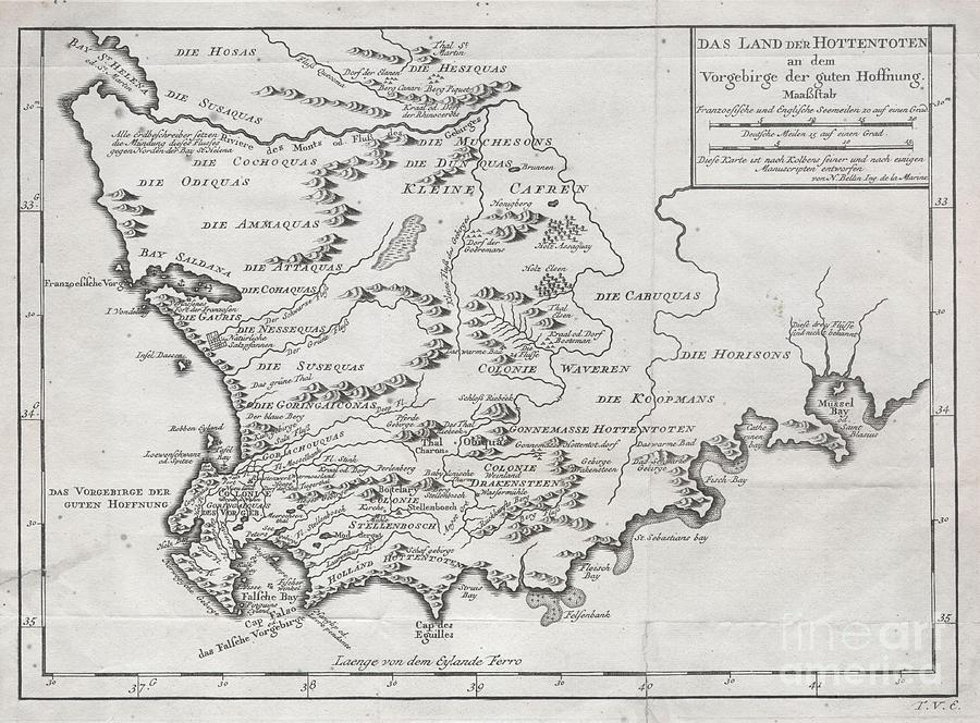 1757 Bellin Map Of South Africa And The Cape Of Good Hope