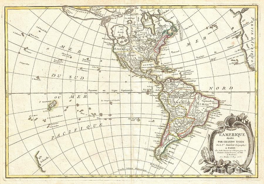 American Indian Stories Photograph - 1762 Janvier Map Of North America And South America  by Paul Fearn